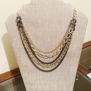 Anthropologie Gold and Black Statement Necklace
